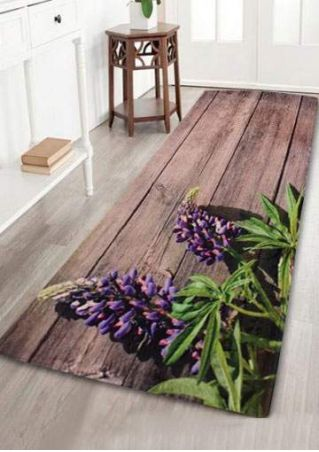 Floral Rectangle Antislip Bath Rug