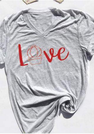 Love Cactus V-Neck Short Sleeve T-Shirt