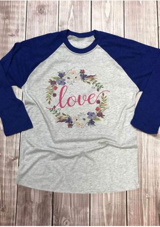 Floral Love O-Neck Baseball T-Shirt