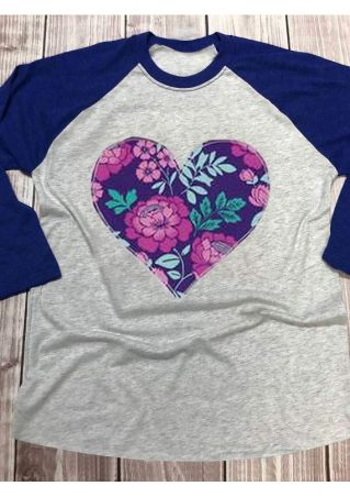 Floral Heart O-Neck Baseball T-Shirt