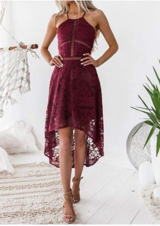 Solid Lace Floral Maxi Dress without Necklace