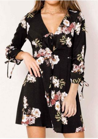 Floral Tie Mini Dress without Necklace