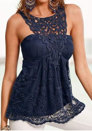 Lace Splicing Backless Tank