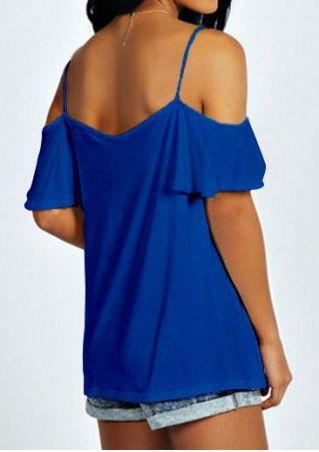 Solid Off Shoulder Petal Sleeve Stylish Blouse