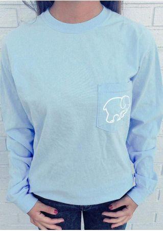 Elephant Printed Pocket Chic T-Shirt