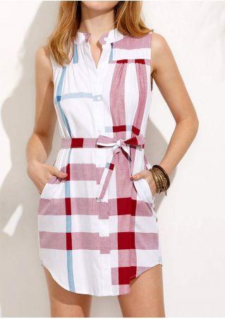 Plaid Sleeveless Mini Shirt Dress