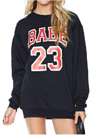 Letter Number Printed Long Sleeve Sweatshirt