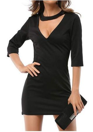 Solid V-Neck Choker Detail Bodycon Dress