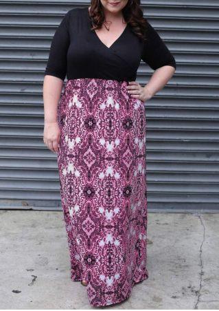 Printed Splicing Cross Plus Size Maxi Dress