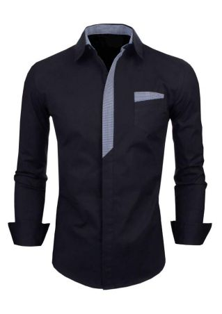 Plaid Splicing Button Shirt