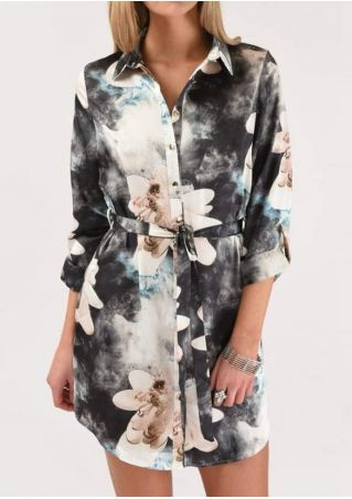 Floral Tie Dye Shirt Dress