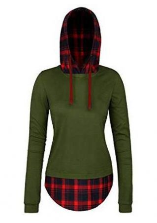 Plaid Splicing Long Sleeve Casual Hoodie