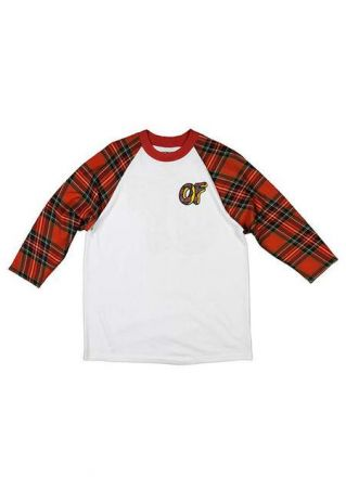 Plaid Letter Printed O-Neck T-Shirt