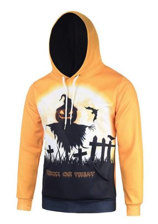 Halloween Printed Kangaroo Pocket Casual  Hoodie