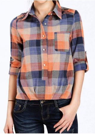Plaid Button Tab-Sleeve Blouse