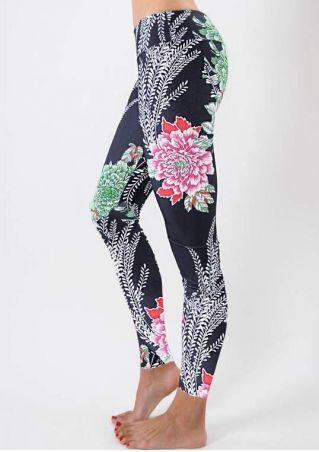 Floral Printed Stretchy Slim Leggings
