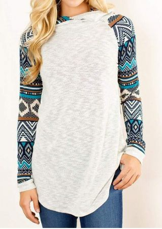 Geometric Printed Knitted Splicing Hoodie
