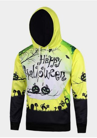 Halloween Pumpkin Printed Kangaroo Pocket Hoodie