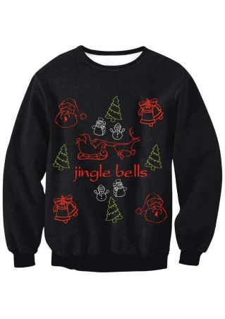 Jingle Bells Christmas Printed Sweatshirt
