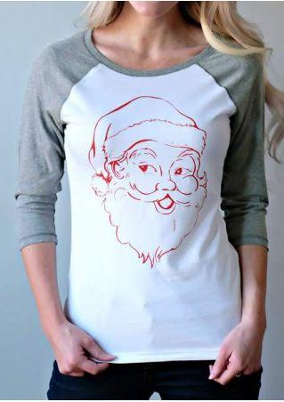Christmas Santa Claus Printed Casual T-Shirt