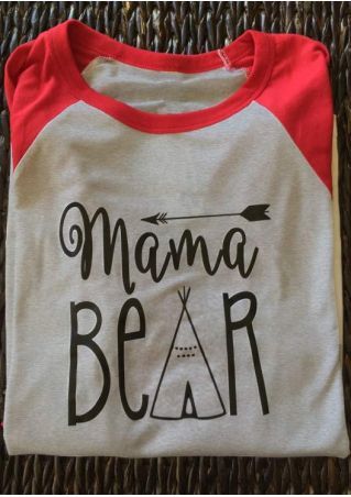 Mama Bear Arrow Printed Splicing Casual T-Shirt