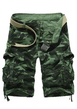 Camouflage Button Zipper Pocket Shorts without Belt