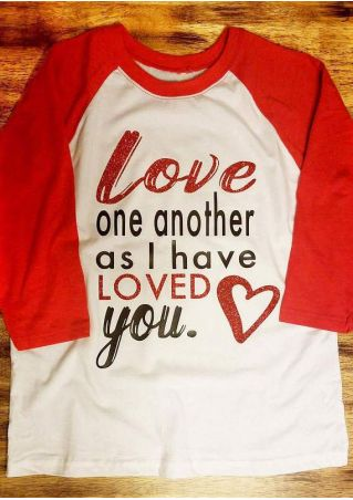 Love One Another Heart Baseball T-Shirt