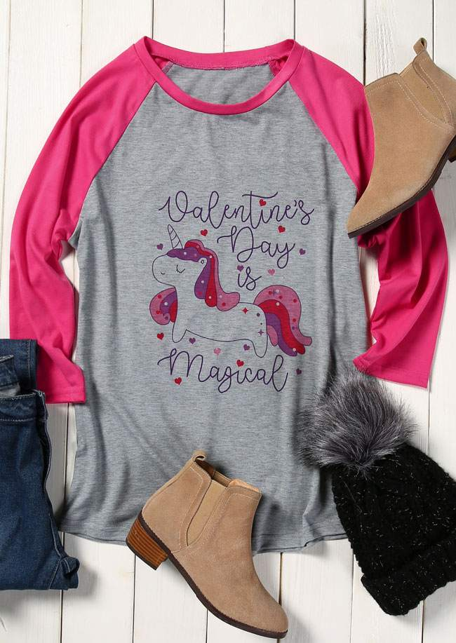 Unicorn Valentine S Day Is Magical Baseball T Shirt Bellelily