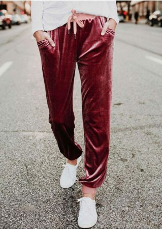Splicing Velvet Drawstring Pocket Pants