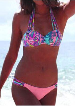 Multicolor Printed Halter Bikini Set