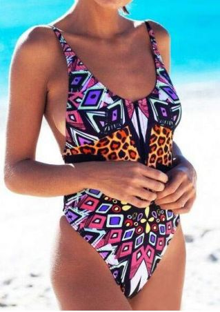 Geometric Leopard Printed Zipper Swimsuit