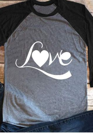 Love Heart O-Neck Baseball T-Shirt