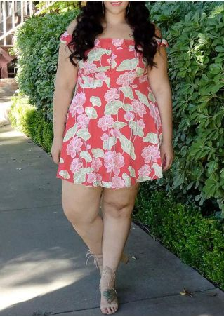 Plus Size Floral Off Shoulder Mini Dress