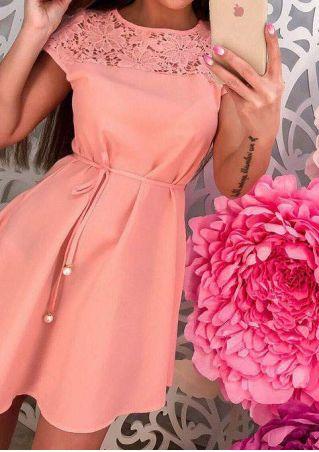 Solid Lace Floral Mini Dress