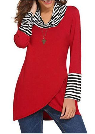 Striped Wrap Turtleneck Sweatshirt without Necklace