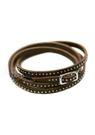 Multi-Layered Leather Rivet Stud Bracelet