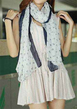 Anchor Printed Soft Scarf