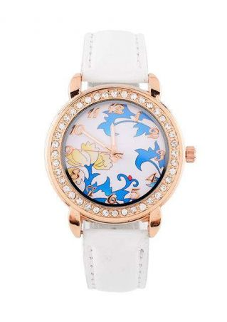 Imitated Crystal Floral Alloy Wrist Watch
