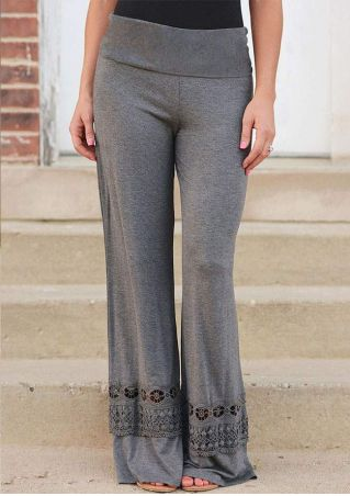 Solid Lace Splicing Wide Leg Pants