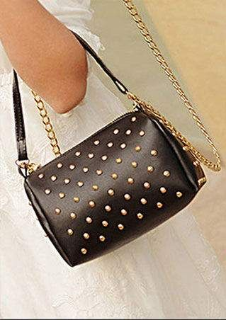 PU Leather Rivets Crossbody Bag
