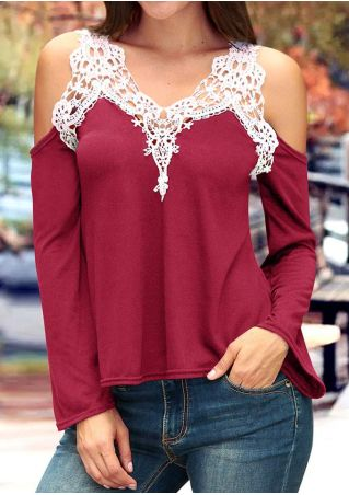 Lace Floral Splicing Cold Shoulder Blouse