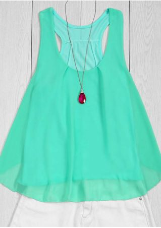 Solid Chiffon O-Neck Tank without Necklace