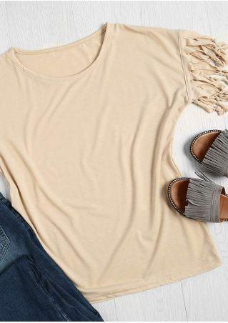 Solid Tassel Splicing O-Neck T-Shirt