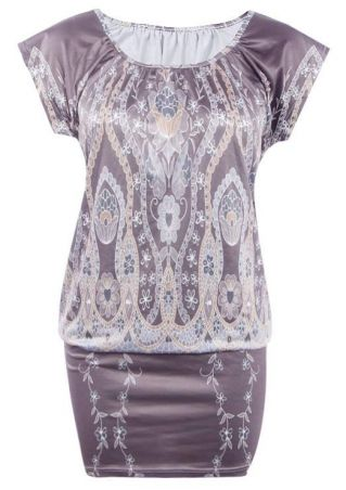 Floral O-Neck Bodycon Mini Dress