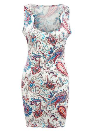 Printed Racerback Bodycon Mini Dress