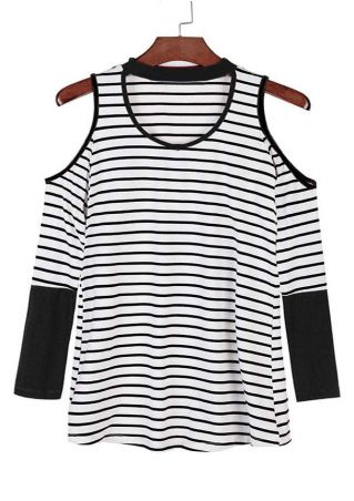 Striped Cut Out Cold Shoulder Blouse