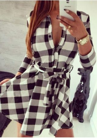 Plaid Button Pocket Casual Dress With Belt