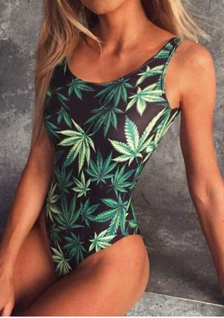 Leaf Backless Sexy Swimsuit