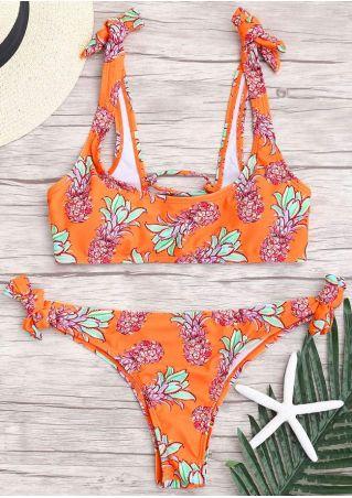 Pineapple Lace Up Bikini Set