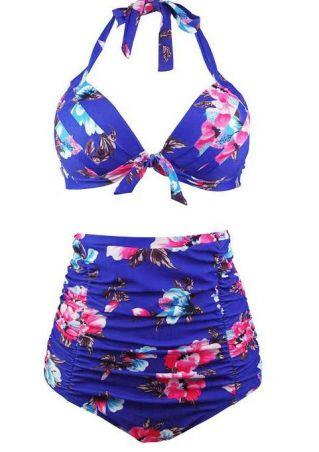Plus Size Floral Halter Sexy Bikini Set